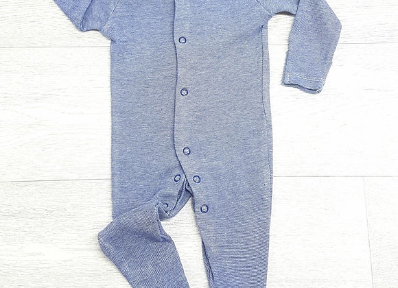 🏳F&F. Blue striped babygrow with built in scratch mits. Up to 1 month