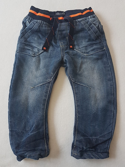 Denim Co. Denim jeans with soft lining and elasticated waist. Size 9-12 months