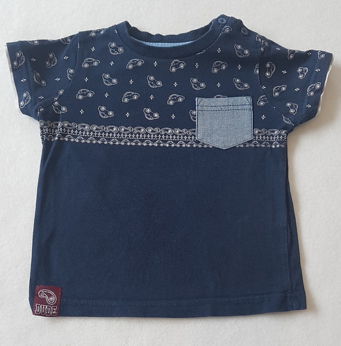 M&Co. Navy short sleeve top with cars. Age 12-18 months.