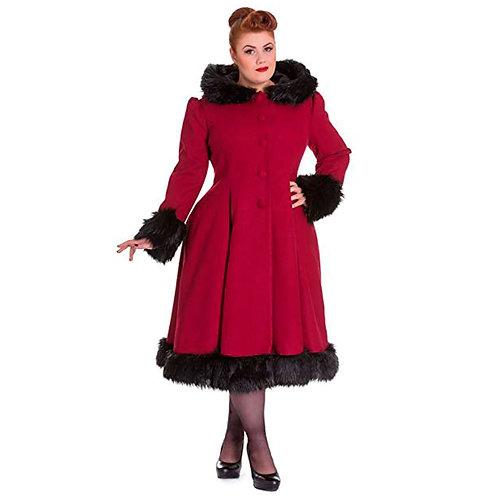 Elvira Faux Fur Collar Coat by Hell Bunny