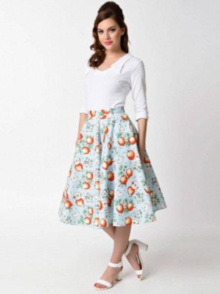Hell Bunny Somerset Blue Fruit Skirt