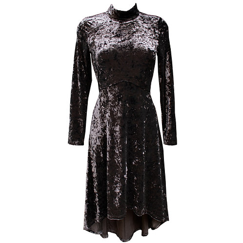 Long Crushed Velvet Asymmetric  Black Dress