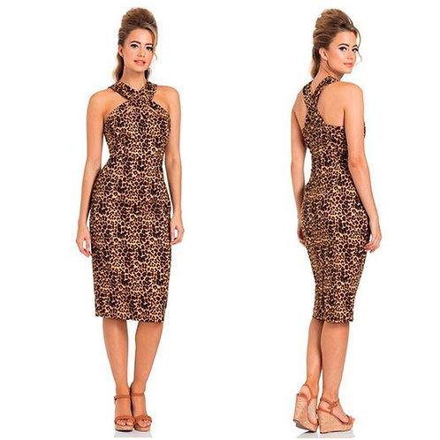 Leopard Print Cut Out Pencil Dress Voodoo Vixen