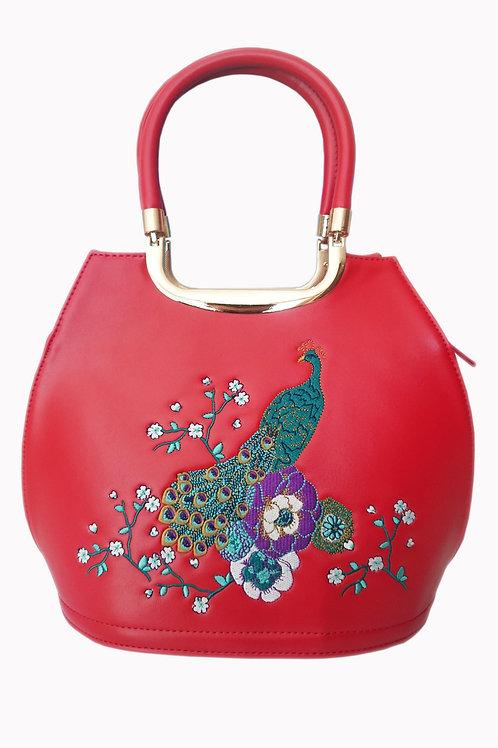 Banned Retro Peacock Mayuree Red Handbag