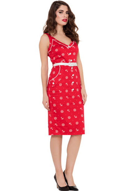 Voodoo Vixen Red Gwyneth Nautical Wiggle Dress