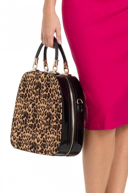 Voodoo Vixen Structured Leopard Patent Handbag
