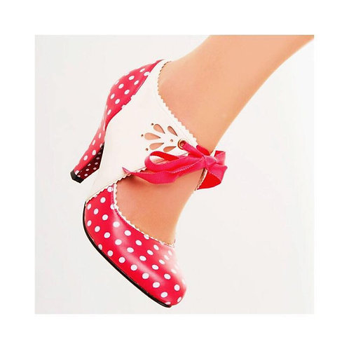 Banned Retro Mary Beth Red & Cream Polka Dot Lace Up Heels