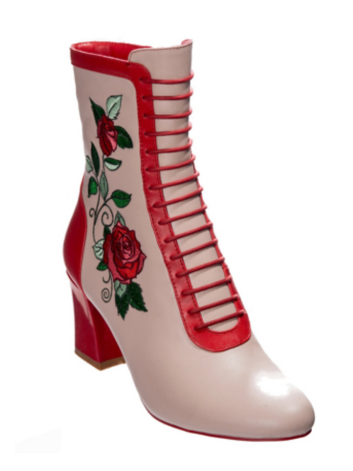 Banned Fantasy Cream Rose Boots