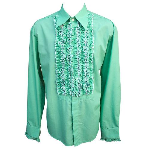 Chenaski 70's Frill Shirt Dark Mint Green