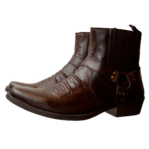 Brown Leather Cowboy Chelsea Boots