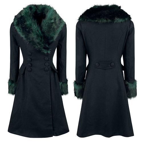 Black Noir Green Faux Fur Trim Coat by Hell Bunny