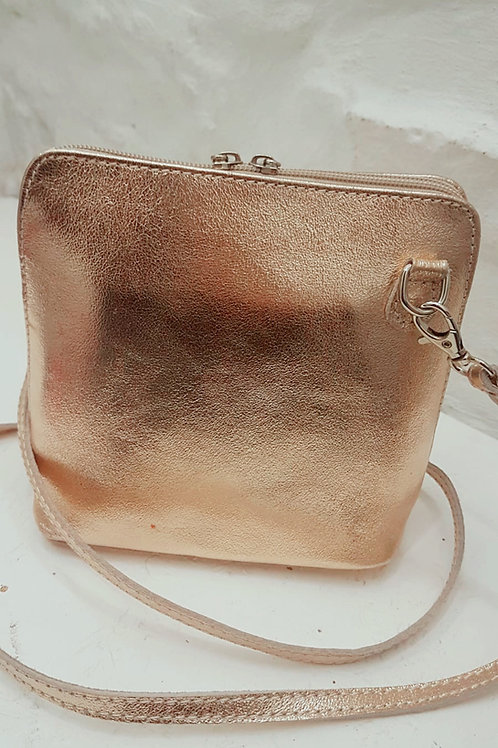 Genuine Leather Gold Shoulder bag