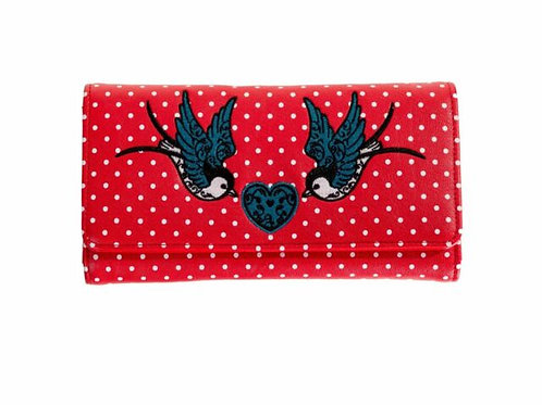 Banned Retro Now Or Never Red Swallow Purse