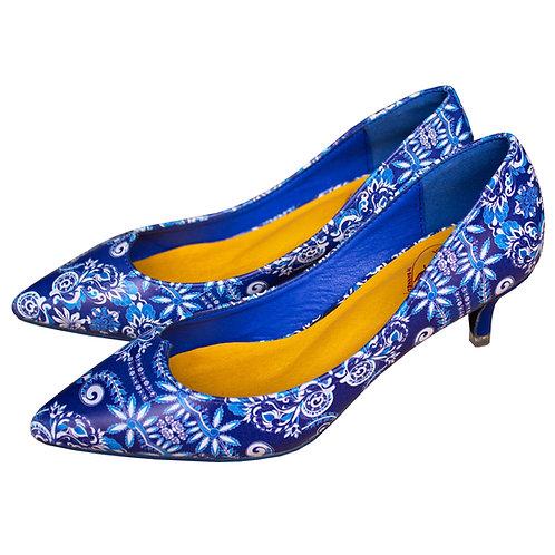 Blue Baroque Kitten Heels