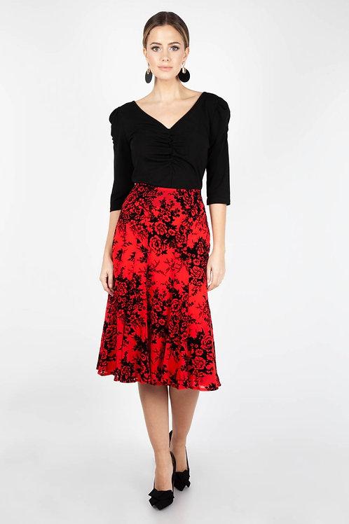 Voodoo Vixen Chloe Black and Red Rose Skirt