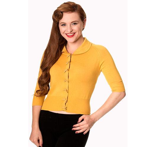 Banned Retro April Bow Mustard Yellow Cardigan