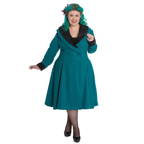 Vivien Teal Vintage Style Coat by Hell Bunny