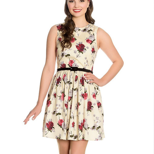 Cecily Cream Roses Dress by Hell Bunny