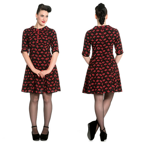 Red Fang Lips Dress By Hell Bunny