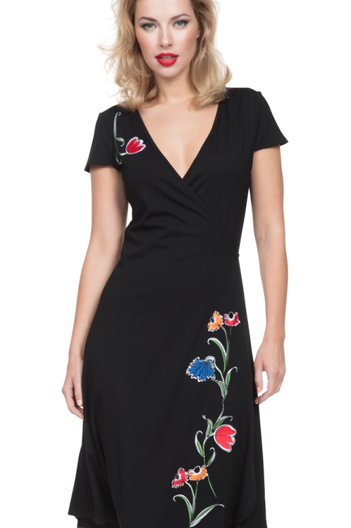 Voodoo Vixen Primrose Black Wrap Dress