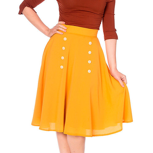 Cute As a Button Flared Mustard Skirt by Banned Retro