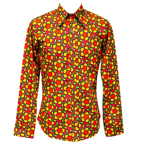 Chenaski Red Flower Grid Shirt