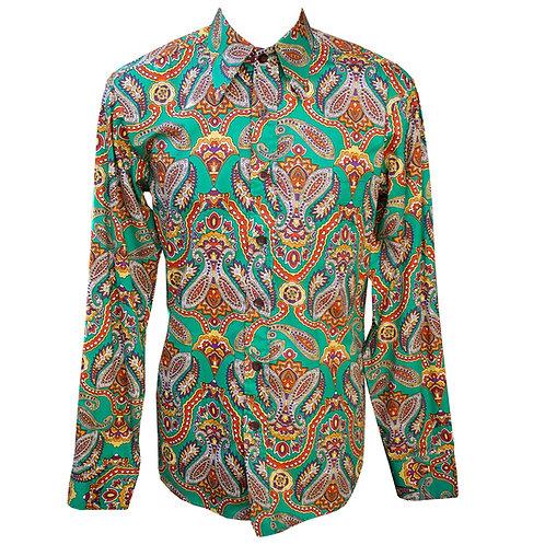Chenaski 70's Big Paisley Green & Brown Shirt