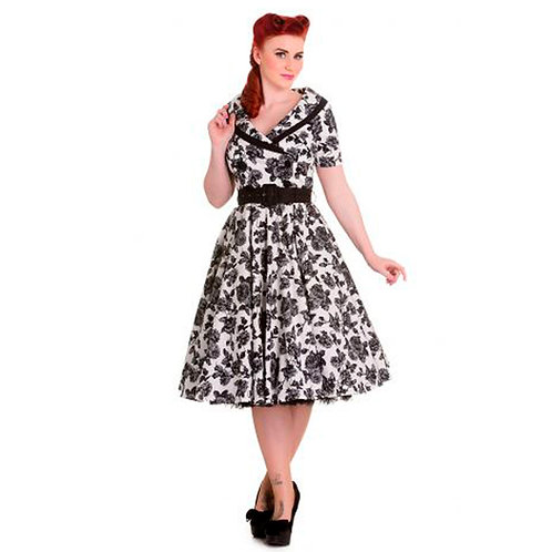 Black Flower 1950's Style Dress by Hell Bunny