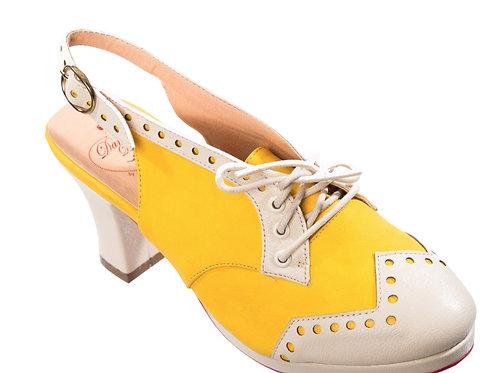 Banned Retro Miami Matylda Yellow Slingback Heels