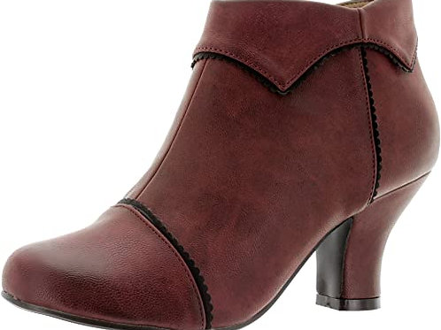 Banned Retro Ruth Burgundy Ankle Boots