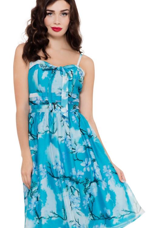 Voodoo Vixen Clara Blue Chiffon Dress