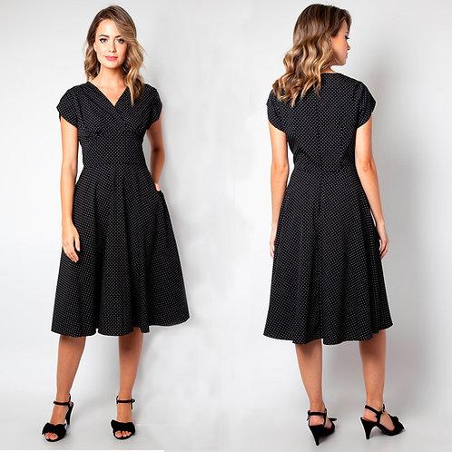Tabby Black Polka Dot Dress by Voodoo Vixen