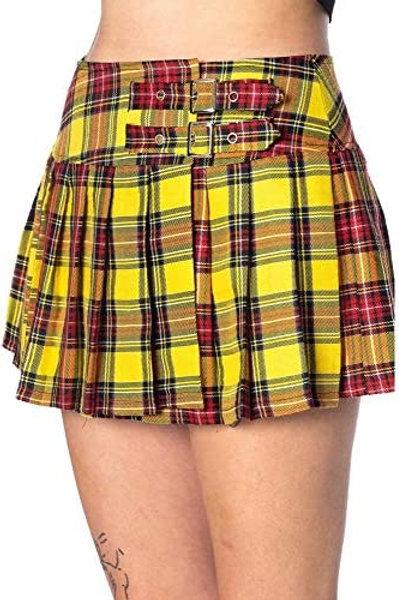 Lost Queen Yellow Tartan Mini Skirt