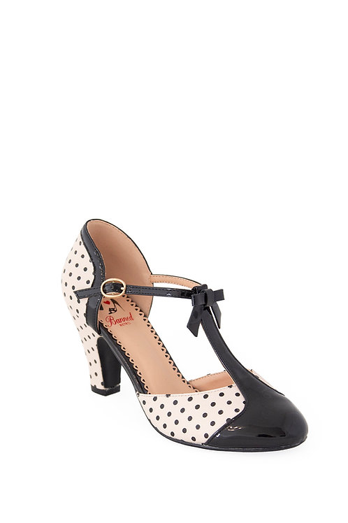 Banned Retro Black And Blush Kelly Lee T Strap Shoes