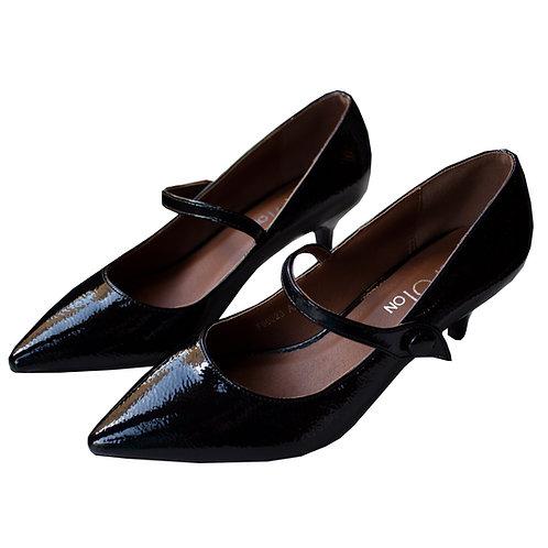 Black Patent Kitten Heels