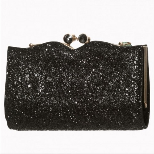 Banned Retro Simone Black Glitter Bag