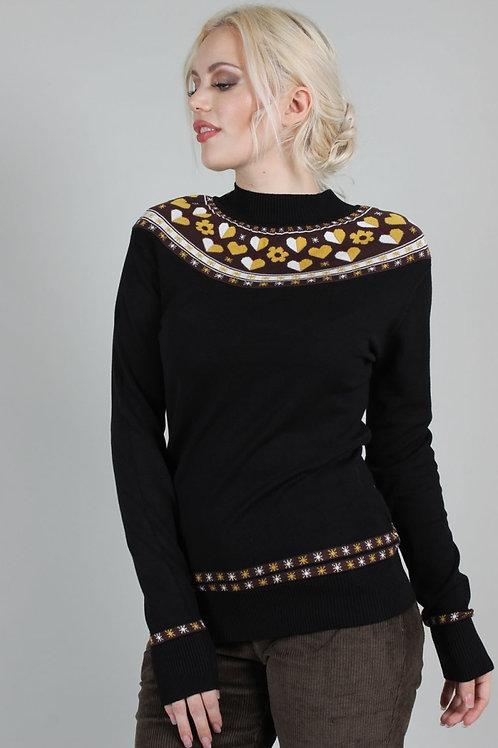 Voodoo Vixen Farrow Heart And Flower Graphic Sweater