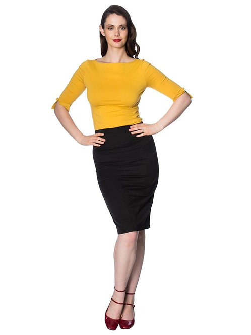Banned Retro Mustard Oonagh Bow Detail Top