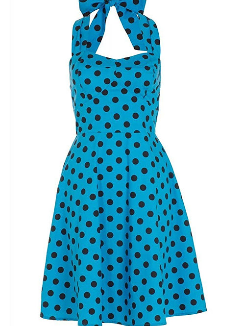 Voodoo Vixen Millie Turquoise Big Spot Halterneck