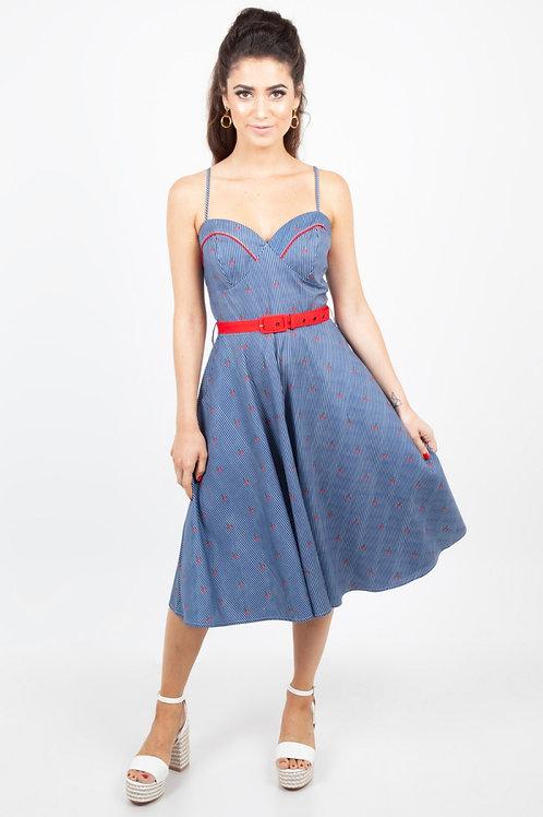 Voodoo Vixen Shelley Cherry and Stripe Flared Dress
