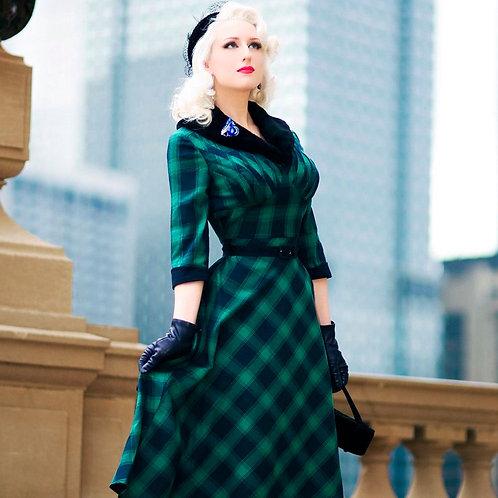 Lola Plaid Tartan Green Flare Dress by Voodoo Vixen