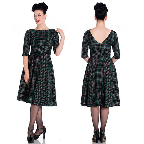 Hell Bunny Green Tartan Dress