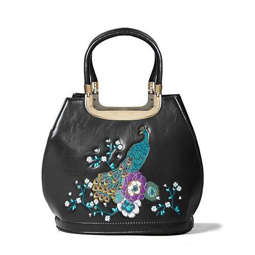 Banned Retro Peacock Mayuree Black Handbag