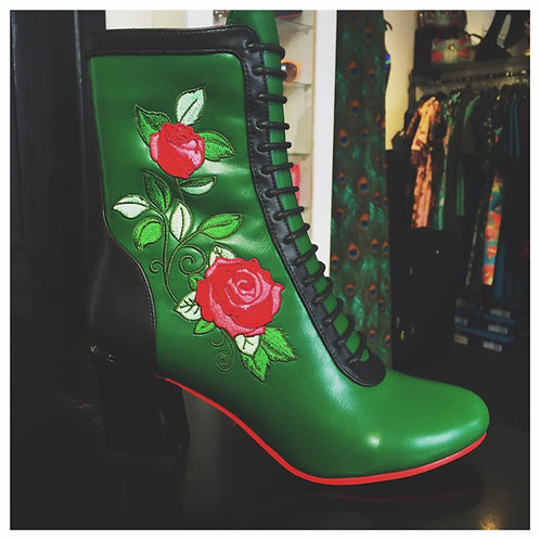 Banned Fantasy Green Rose Boots