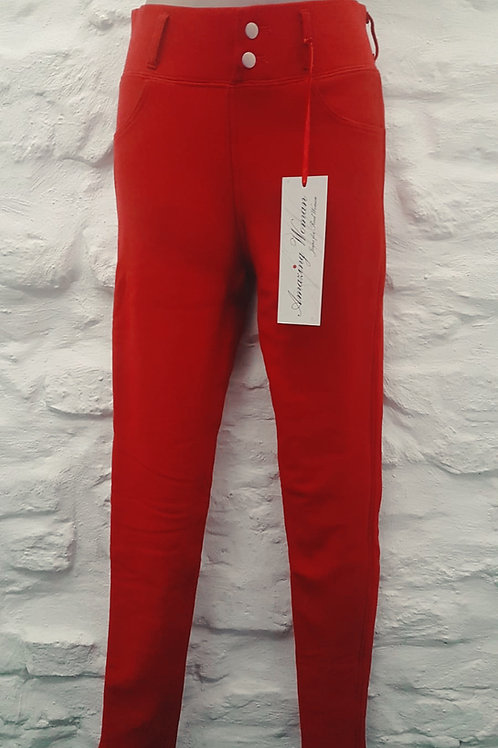 Amazing Woman Red Faux Fur Lined Jeggings