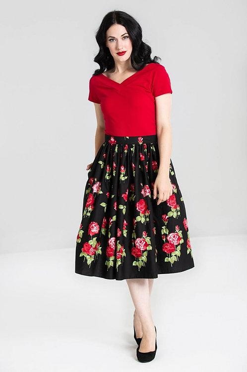 Hell Bunny Antonia Red Rose Skirt