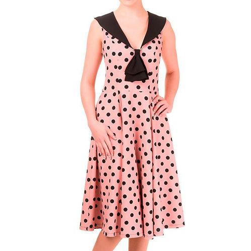 Polka Dot Rockabilly Pink Nude Dress by Banned Retro