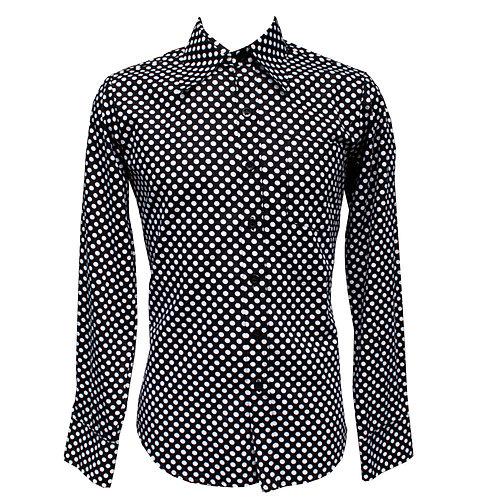 Chenaski Black & White Polka Dot Shirt