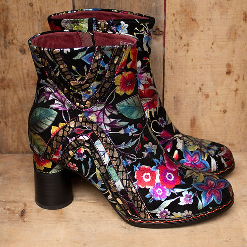 Pearlescent Painted Flower Ankle Stacy Boots By Laura Vita