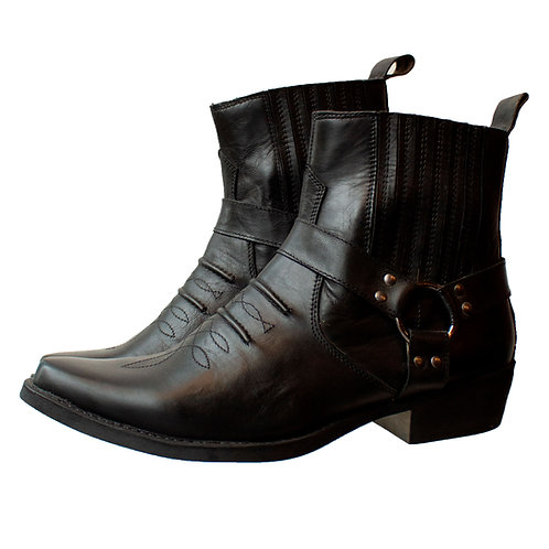 Black Leather Cowboy Chelsea Boots